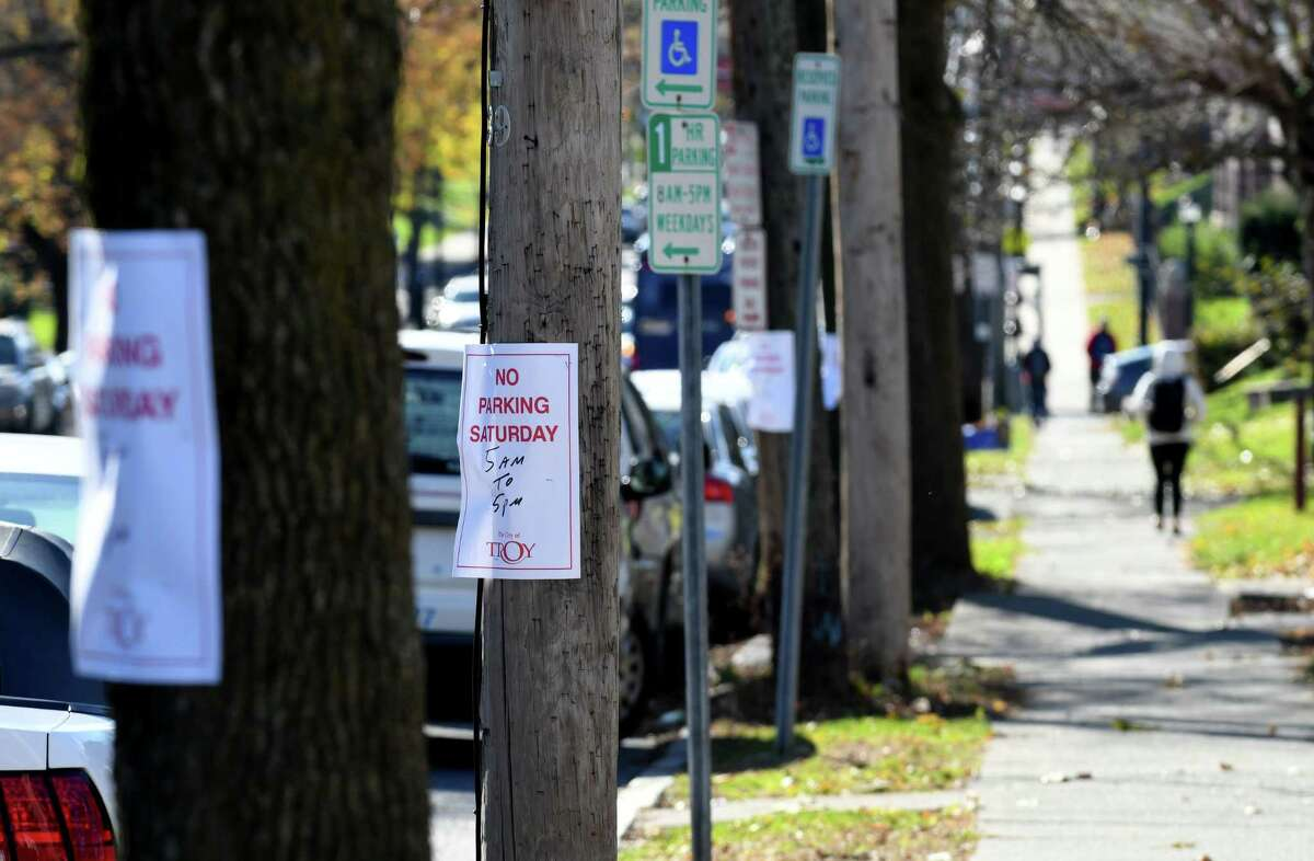 No parking signs are placed on 15th Street near Peoples Avenue where a Saturday commercial filming for the state Health Department is scheduled on Friday, Nov. 10, 2017, in Troy, N.Y. Peoples Avenue between Eaton Road and 14th Street, and 15th Street between Jacob Street and Sage Avenue, will be closed to regular vehicle traffic on Saturday, Nov. 11, beginning at 5:00 a.m. until approximately 6 p.m. (Will Waldron/Times Union)