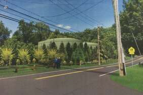 Picture, designed by AECOM, of proposed water tanks on North Ave. in Westport.