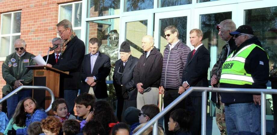 Royle School principal Dean Ketchum introduces Royle School veterans at a Veteran's Day ceremony in Darien, Conn. on Nov. 10, 2017. Photo: Erin Kayata / Hearst Connecticut Media / Darien News