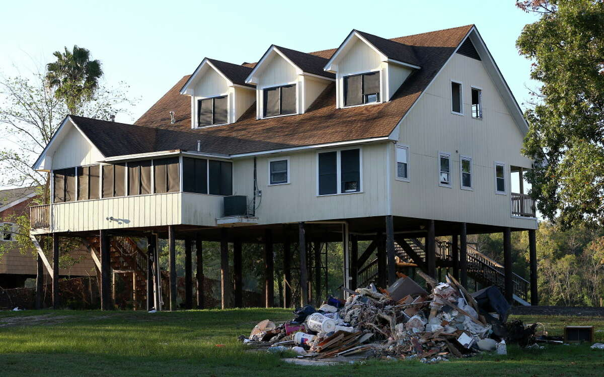 This home on the 2600 block of Shorewick Drive was bought by Harris County after it flooded during Harvey Friday, Nov. 10, 2017, in Highlands, Texas. The property was demolished.