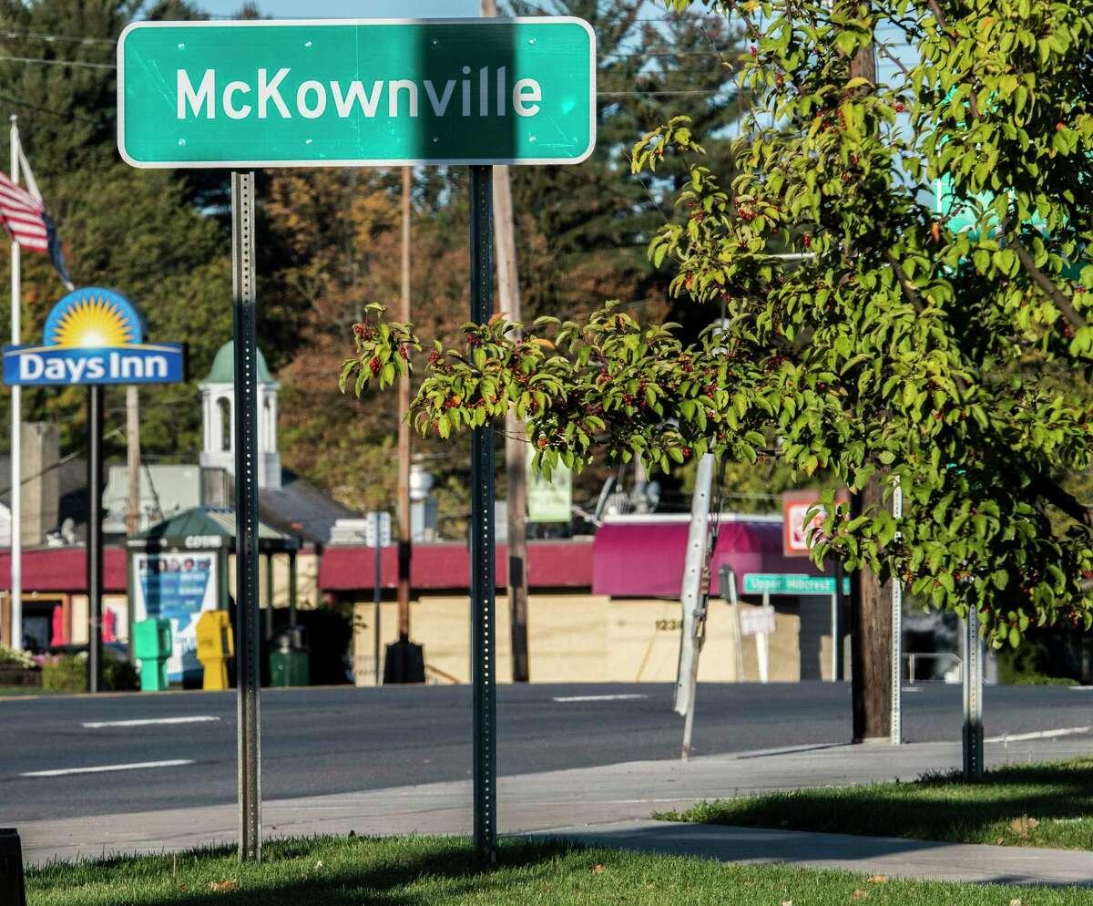 The McKownville sign on Western Avenue Wednesday Oct. 18, 2017 in McKownville, N.Y. (Skip Dickstein/Times Union)