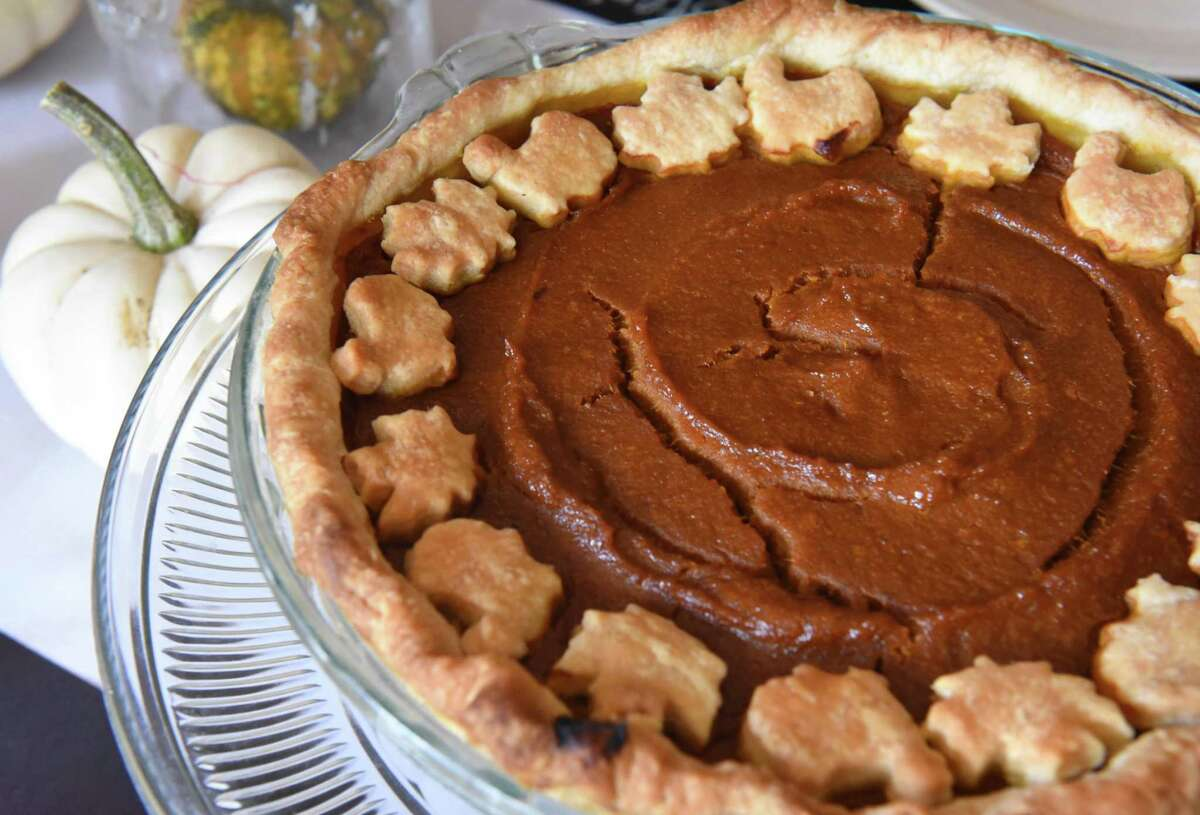Vegan coconut curry pumpkin pie prepared by Deanna Fox at her home on Thursday, Oct. 12, 2017 in Delanson, N.Y. (Lori Van Buren / Times Union)