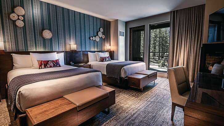 Guest rooms in the Lodge at Edgewood Tahoe start at 500 square feet and have wood and nautical-themed decor reflective of the setting.