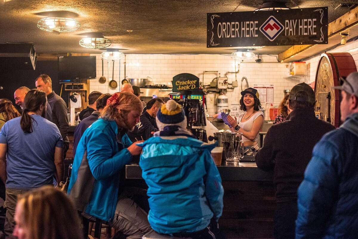 The Powder Keg at Powder Mountain's Timberline Lodge is a no-frills bar and grill where you sit among lifties, locals, and day skiers.