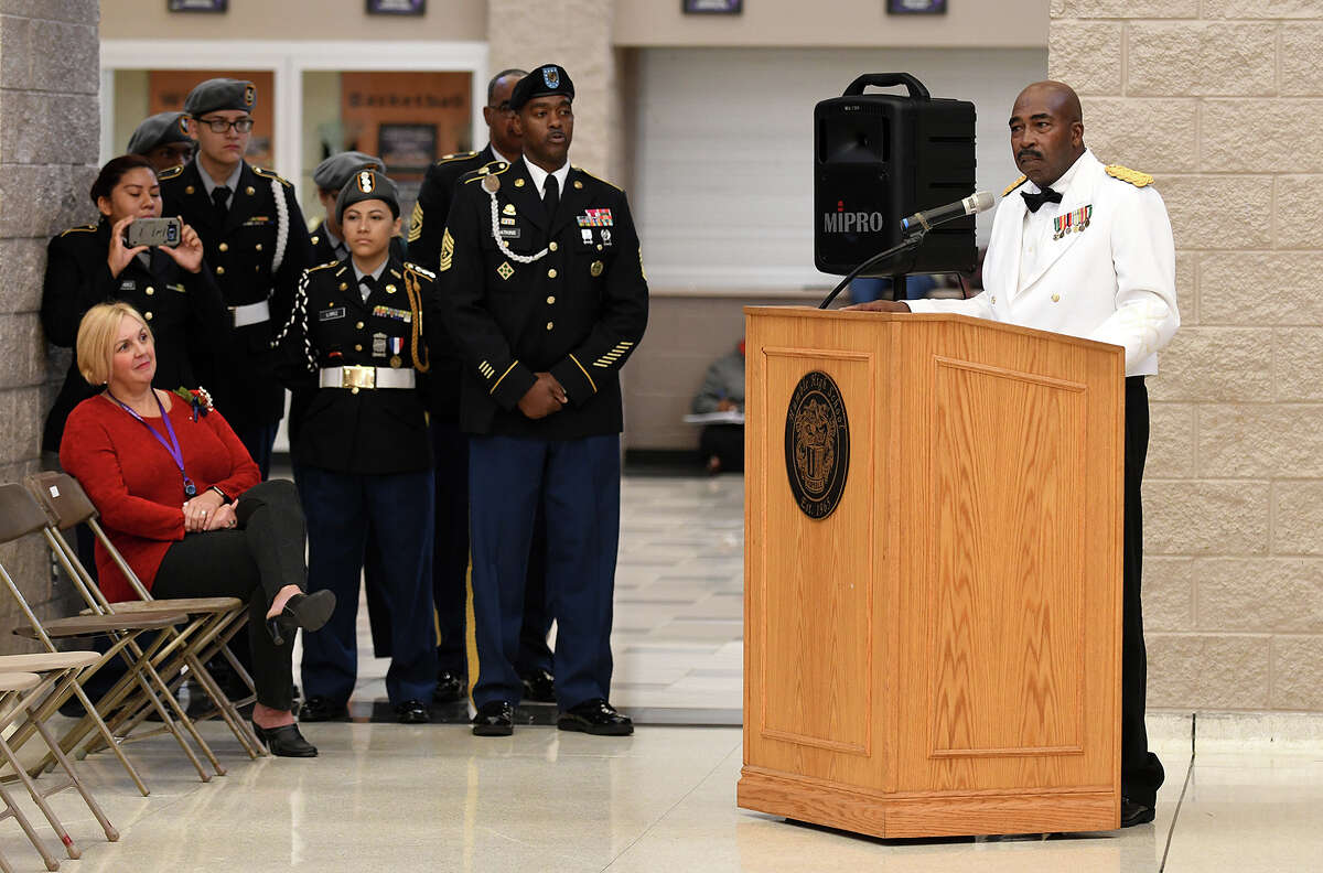 Guest speaker Major (retired) Edward C. Johnson makes his remarks during the Humble High School Wildcat Salute to Veterans in the HHS Commons on Nov. 10, 2017. (Photo by Jerry Baker/Freelance)