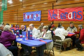 The Laker Veterans Day program Friday morning brought a large audience of veterans and those currently serving, along with family members. Many elementary students had special patriotic gifts to give to the veterans. The Laker Band performed several songs.