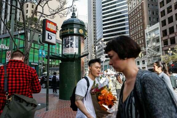 An advertising kiosk seen on Market Street on Thursday, November 9, 2017 in San Francisco, Calif.
