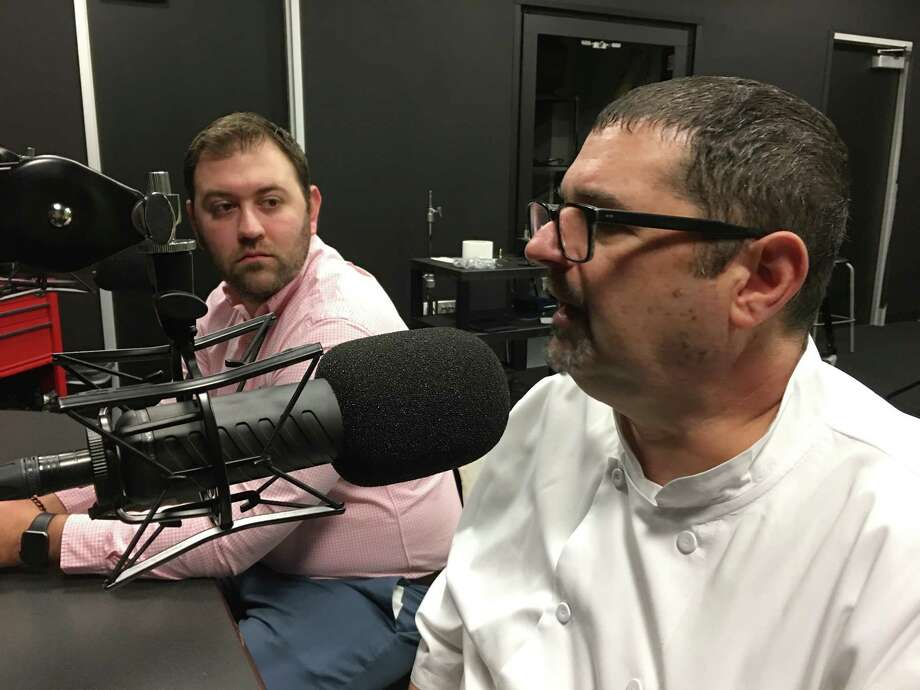 Matt Tanner, left, beverage concept manager for Pappas restaurants, and Michael Verlardi, corporate executive chef for Pappas restaurants, talk about the company's new brand, Delta Blues Smokehouse on the BBQ State of Mind podcast. Photo: Scott Kingsley
