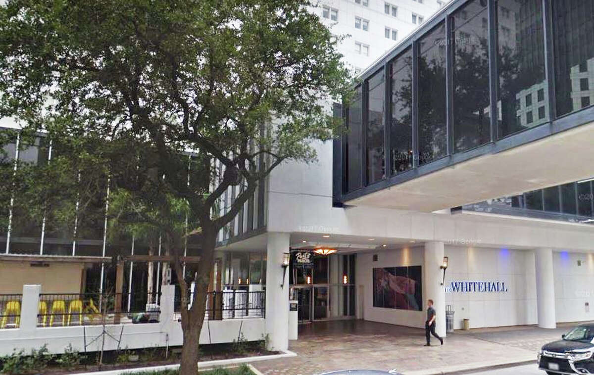 An exterior view of the Whitehall Hotel in downtown Houston.