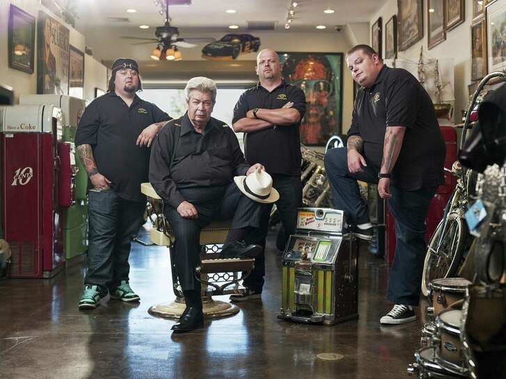 """The famous faces of History Channel show """"Pawn Stars:"""" From left, family friend Chumlee, founder """"Old Man"""" Harrison, his son, Rick, and grandson Cory."""
