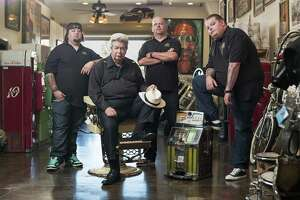 "The famous faces of History Channel show ""Pawn Stars:"" From left, family friend Chumlee, founder ""Old Man"" Harrison, his son, Rick, and grandson Cory."