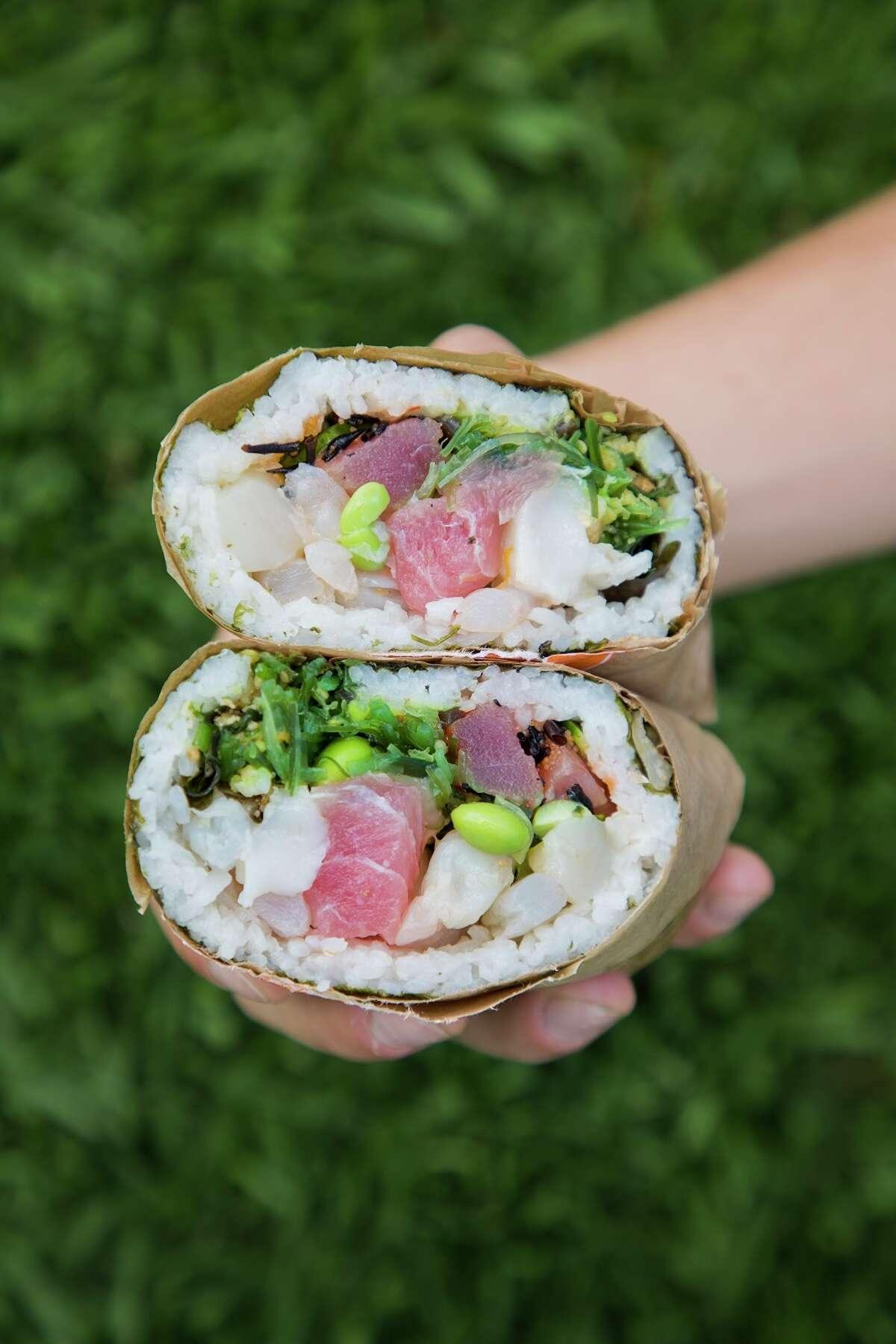Poke burrito from Pokeworks, 213 Heights in Houston.