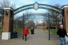 The entrance gates to Western Connecticut State University midtown campus at 181 White Street in Danbury, Conn.