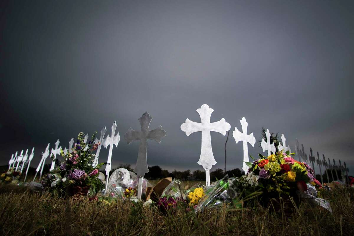 Twenty-six crosses have been placed near a ball park representing the 26 lives lost during a shooting in the First Baptist Church of Sutherland Springs, Sunday, Nov. 5, 2017. Wednesday, Nov. 8, 2017, in Sutherland Springs.