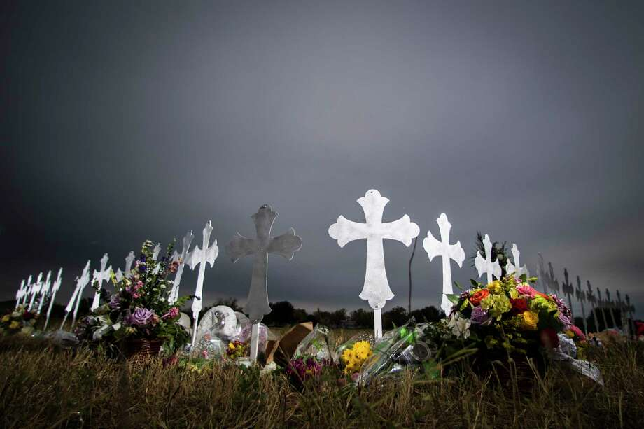 Twenty-six crosses have been placed near a ball park representing the 26 lives lost during a shooting in the First Baptist Church of Sutherland Springs, Sunday, Nov. 5, 2017. Wednesday, Nov. 8, 2017, in Sutherland Springs. Photo: Marie D. De Jesus, Houston Chronicle / © 2017 Houston Chronicle
