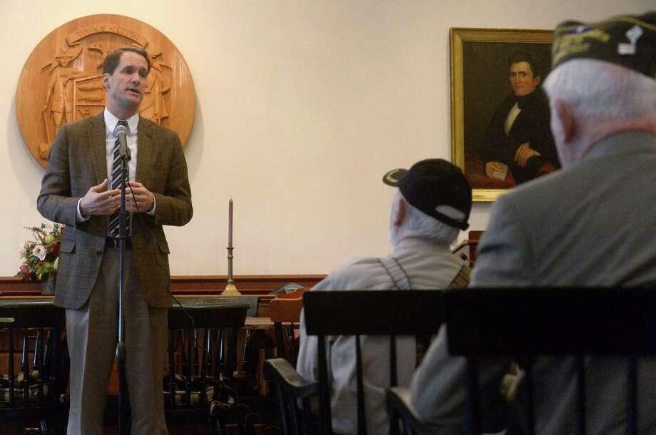 Congressman Jim Himes speaks at the Weston Town Hall Veterans Day Celebration Friday, Nov. 10 in Weston. Photo: Erik Trautmann / Hearst Connecticut Media / Norwalk Hour
