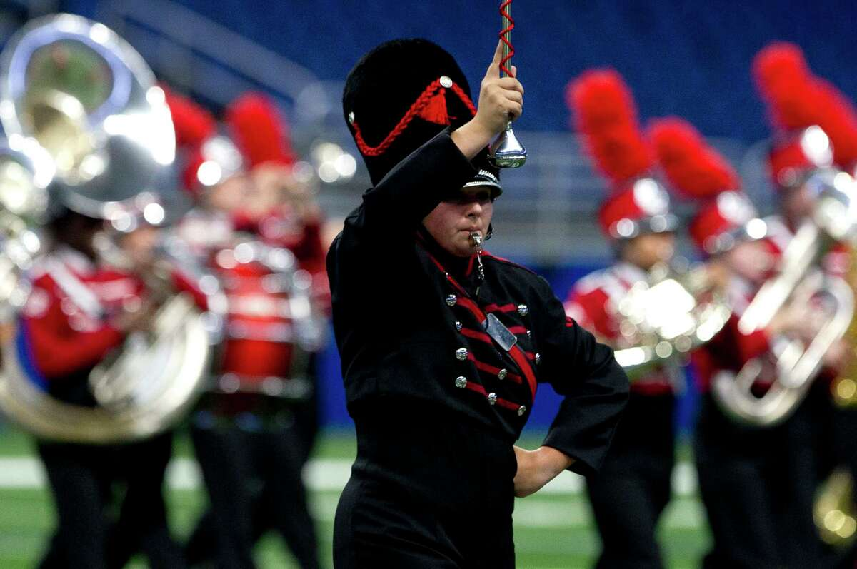 Members of the Crosby High School band performs during the UIL Marching Band State Championships at the Alamodome, Wednesday, Nov. 8, 2017, in San Antonio.