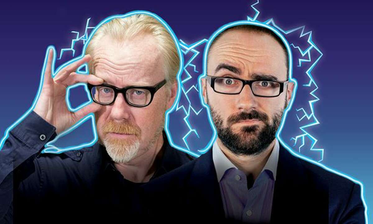 """Adam Savage, left, and Michael Stevens bring """"Brain Candy Live!"""" to the Harman Stage at Stamford's Palace Theatre on Nov. 17."""