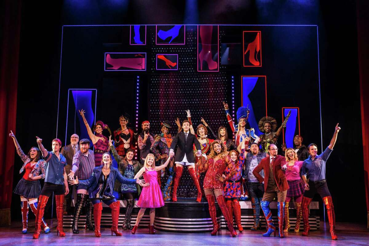 """Lance Bordelon, center, and the cast of the """"Kinky Boots"""" national tour."""