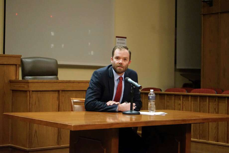 Philip Torrey, managing attorney at the Harvard Immigration and Refugee Clinical Program, discusses sanctuary cities at the Albany Law Review Symposium on Thursday, Nov. 9, 2017. (Massarah Mikati/Times Union)
