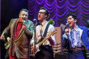 """James Fairchild, left, Michael Perrie Jr. and Matthew Cardenas in """"Buddy — The Buddy Holly Story."""""""
