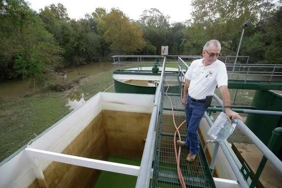 Larry Gray talks about sewage treatment plant at the Bear Creek Pioneers Park, 3535 War Memorial Drive, that was flooded during Hurricane Harvey Wednesday, Nov. 1, 2017, in Houston.