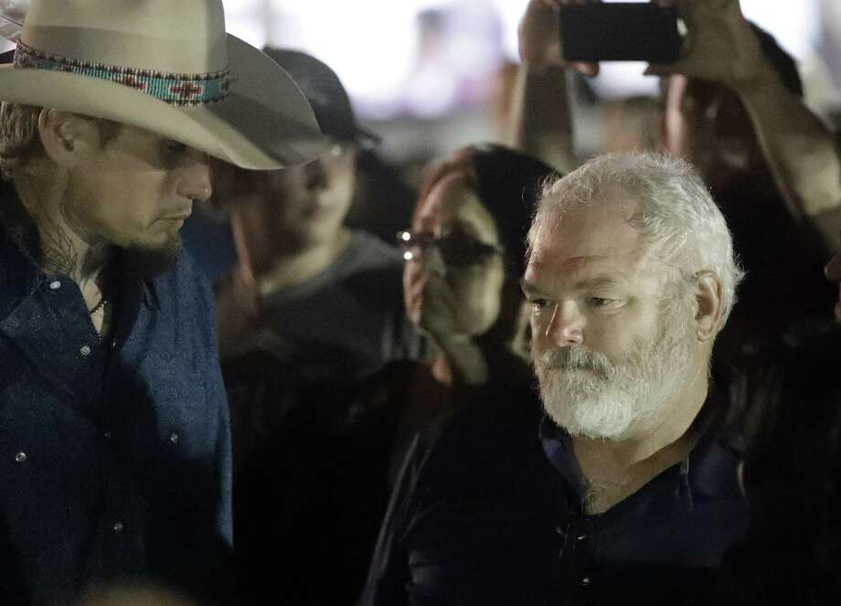 Stephen Willeford (right) shot suspect Devin Patrick Kelley, and Johnnie Langendorff (left) Langendorff drove the truck while chasing Kelley. In swaths of the country, a gun isn't an optional extra layer of self-protection but a necessary first defense. Photo: David J. Phillip /Associated Press / Copyright 2017 The Associated Press. All rights reserved.