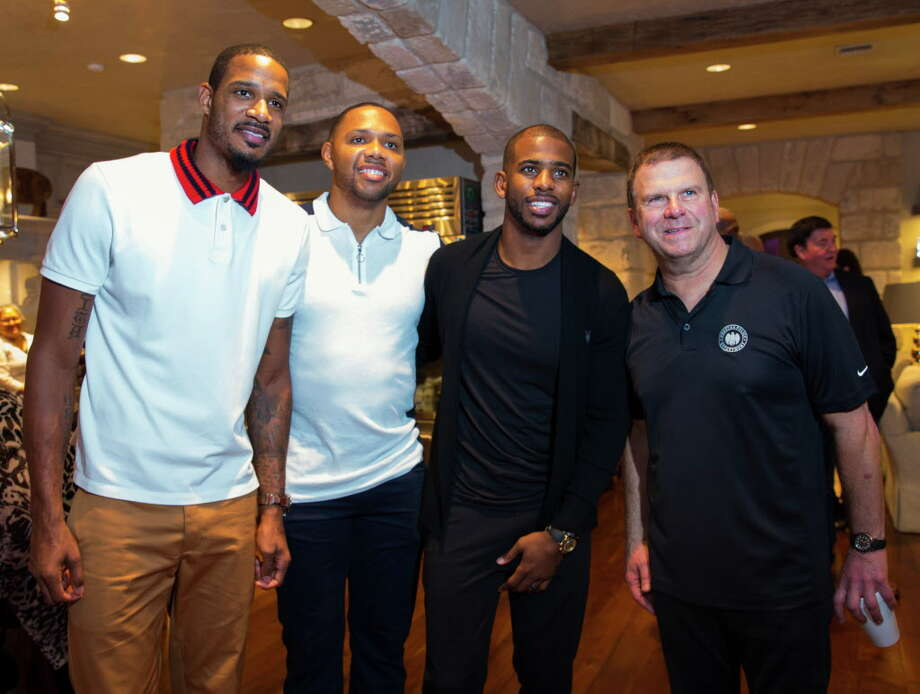 Trevor Ariza, from left, Eric Gordon, Chris Paul and Tilman Fertitta Photo: Annie Mulligan, Freelance / @ 2017 Annie Mulligan