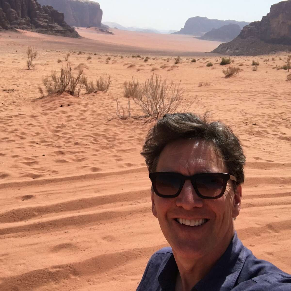 Actor-director-writer Andrew McCarthy stops for a selfie in Wadi Rum Protected Area, a desert wilderness in southern Jordan.