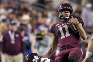 Mississippi State defensive back Johnathan Abram tackles Texas A&M quarterback Kellen Mond after a short gain during an Oct. 28, 2017 game in College Station, Texas.
