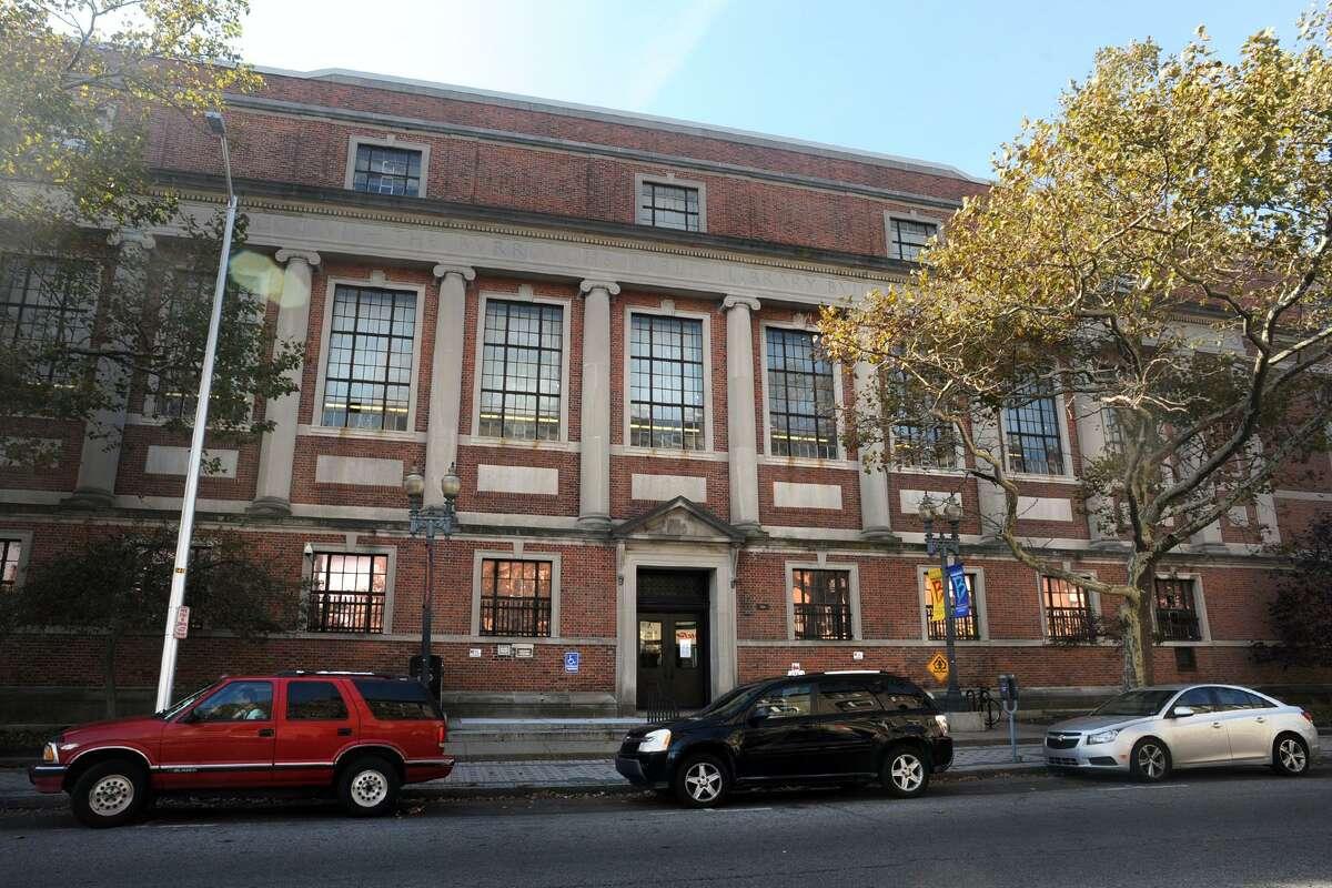 The main branch of the Bridgeport Public Library in Bridgeport, Conn. Nov. 3, 2017.