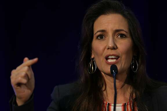 OAKLAND, CA - JUNE 22:  Oakland Mayor Libby Schaaf speaks during the 2016 Cannabis Business Summit & Expo  on June 22, 2016 in Oakland, Schaaf delivered the closing address on the final day of the three-day long Cannabis Business Summit & Expo.  (Photo by Justin Sullivan/Getty Images)