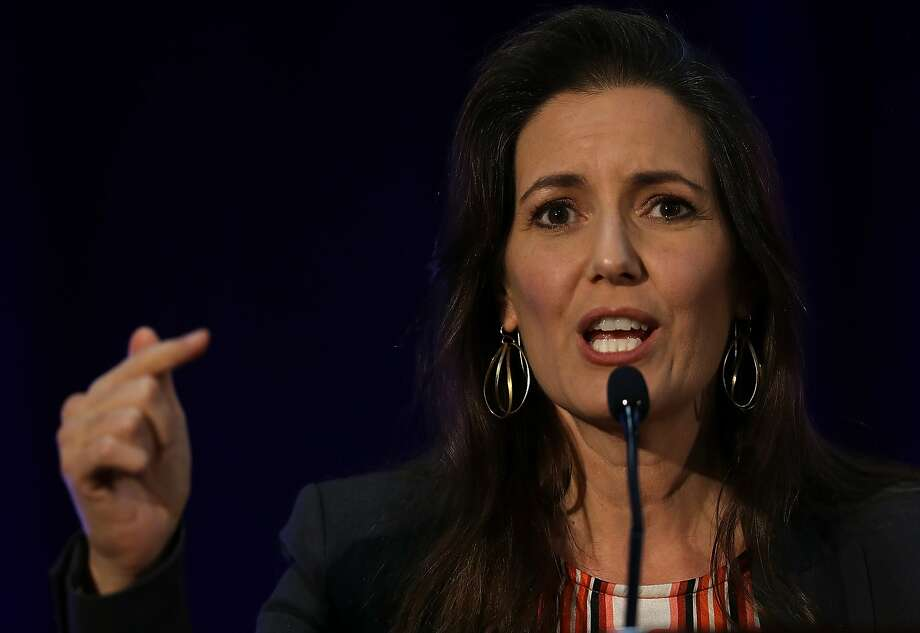 OAKLAND, CA - JUNE 22:  Oakland Mayor Libby Schaaf speaks during the 2016 Cannabis Business Summit & Expo  on June 22, 2016 in Oakland, Schaaf delivered the closing address on the final day of the three-day long Cannabis Business Summit & Expo.  (Photo by Justin Sullivan/Getty Images) Photo: Justin Sullivan, Getty Images