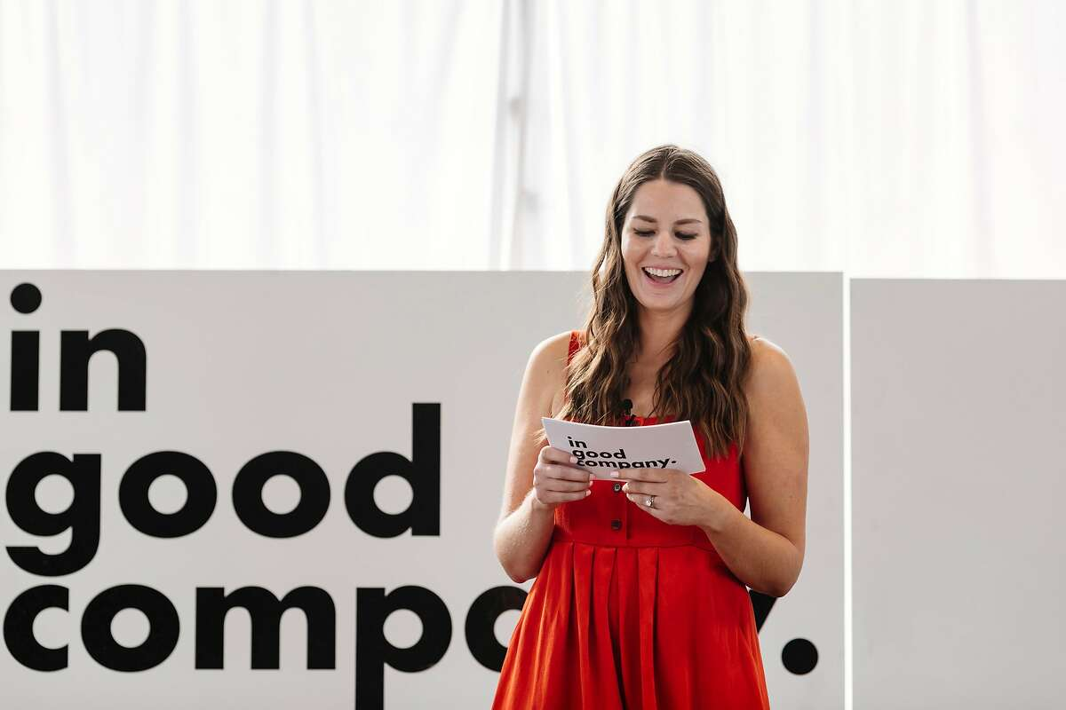Nearly 300 attendees turned out Sept. 29 at Fort Mason for the first In Good Company conference founded by journalist Katie Hintz-Zambrano (in red dress).