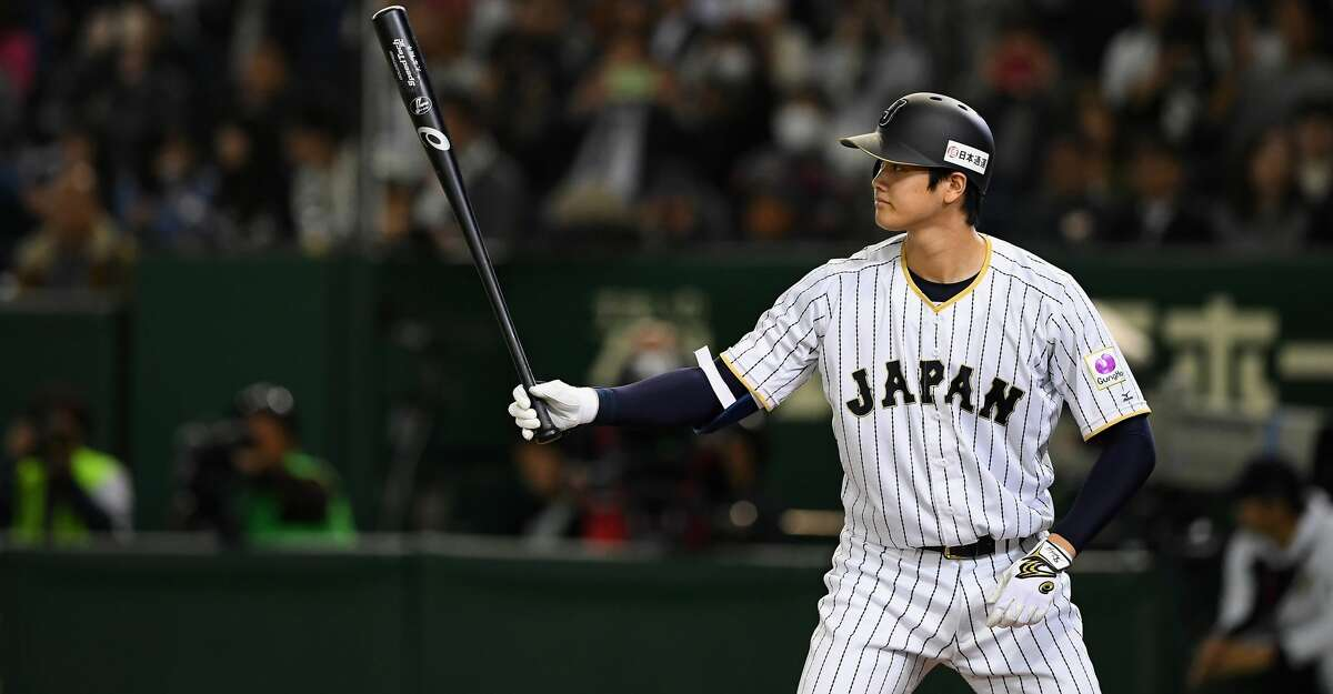 TOKYO, JAPAN - NOVEMBER 10: Pinch hitter Shohei Ohtani #16 of Japan at bat in the eighth inning during the international friendly match between Japan and Mexico at the Tokyo Dome on November 10, 2016 in Tokyo, Japan. (Photo by Masterpress/Getty Images)