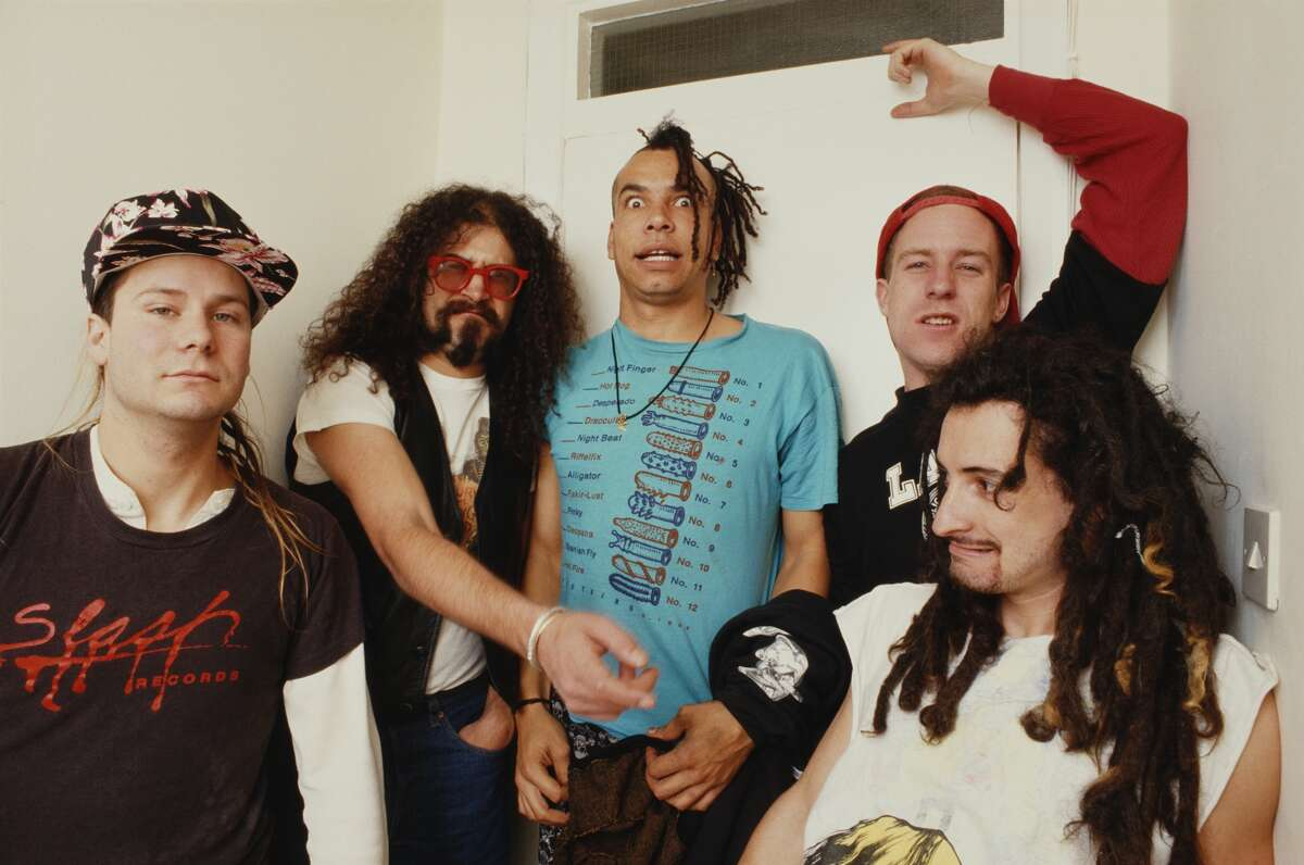 American rock band Faith No More, circa 1987. From left to right, Roddy Bottum, Jim Martin, Chuck Mosely, Billy Gould, and Mike Bordin.