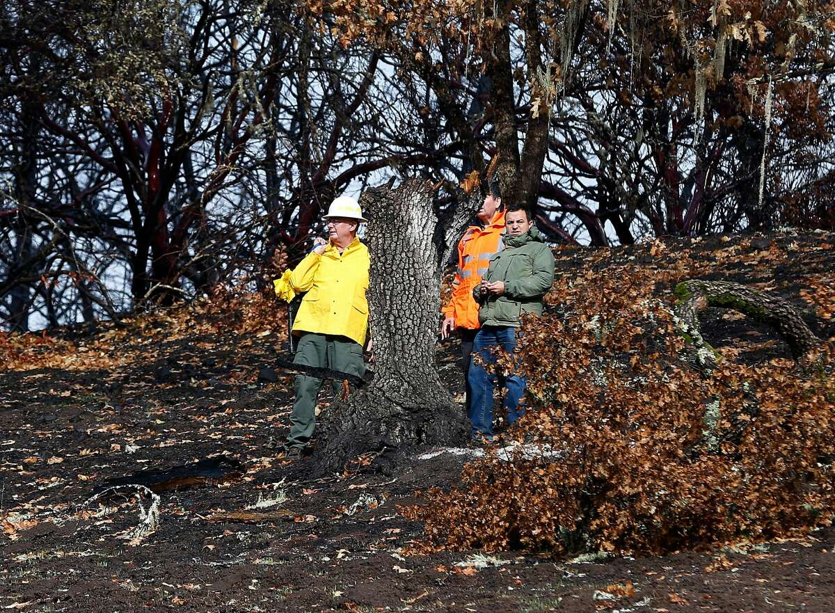 An inspection team walks on the charred property on Bennett Lane in Calistoga, Calif. on Friday, Nov. 10, 2017 where authorities believe the Tubbs Fire originated. PG&E filed legal papers suggesting that third party electrical equipment, not theirs, may have been the cause of last month's deadly Tubbs Fire.