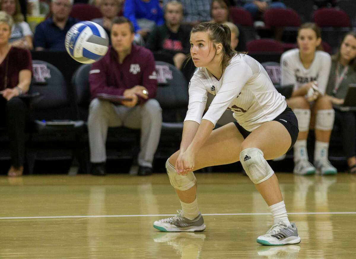 Memorial graduate and Texas A & M junior Amy Houser is averaging a career-best 2.03 digs per set, including a personal record 19 digs Oct. 27 against Tennessee.