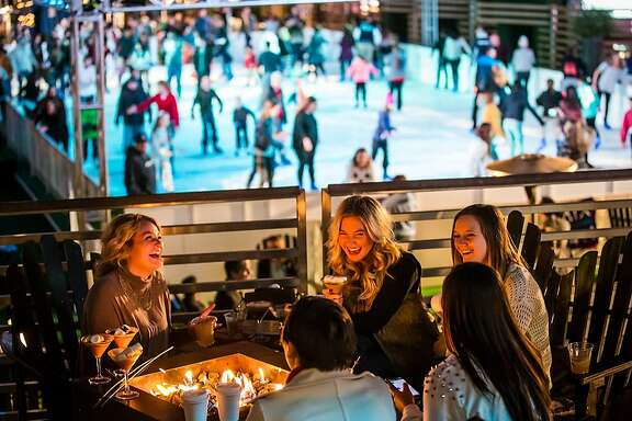 The Cosmopolitan of Las Vegas turns its rooftop pool into a holiday ice rink, with seasonal food and drink served at the fire pits nearby.
