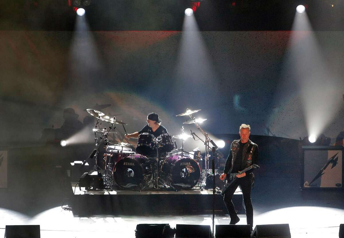 James Hetfield and Lars Ulrich on stage as Metallica performs during the Band Together Bay Area benefit concert at AT&T Park in San Francisco Calif., Thursday, November 9, 2017. The concert was a benefit for the Tipping Point Emergency Relief Fund for North Bay fire relief.