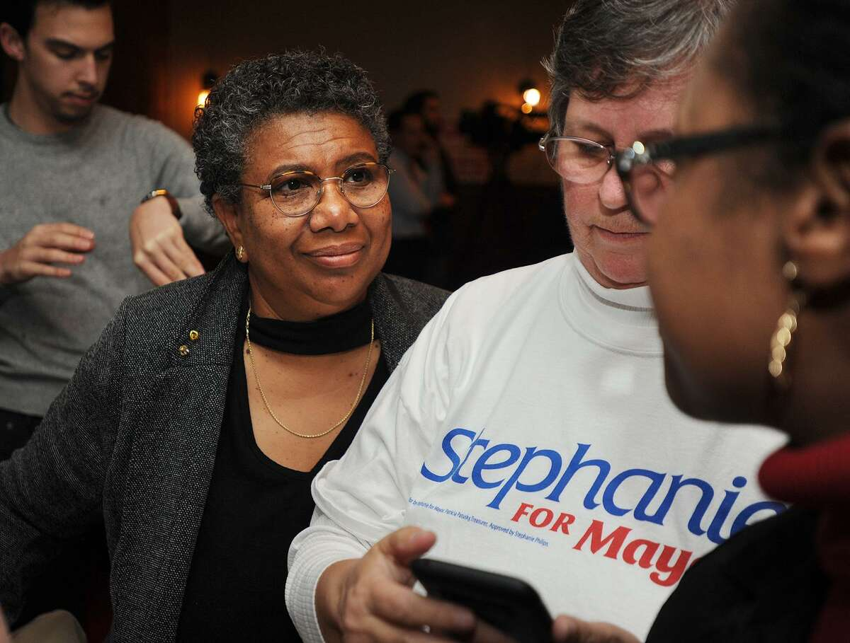 Losing Democratic Mayoral Candidate Stephanie Philips, left, takes election results at Maxwell's restaurant in Stratford, Conn. on Tuesday, November 7, 2017.