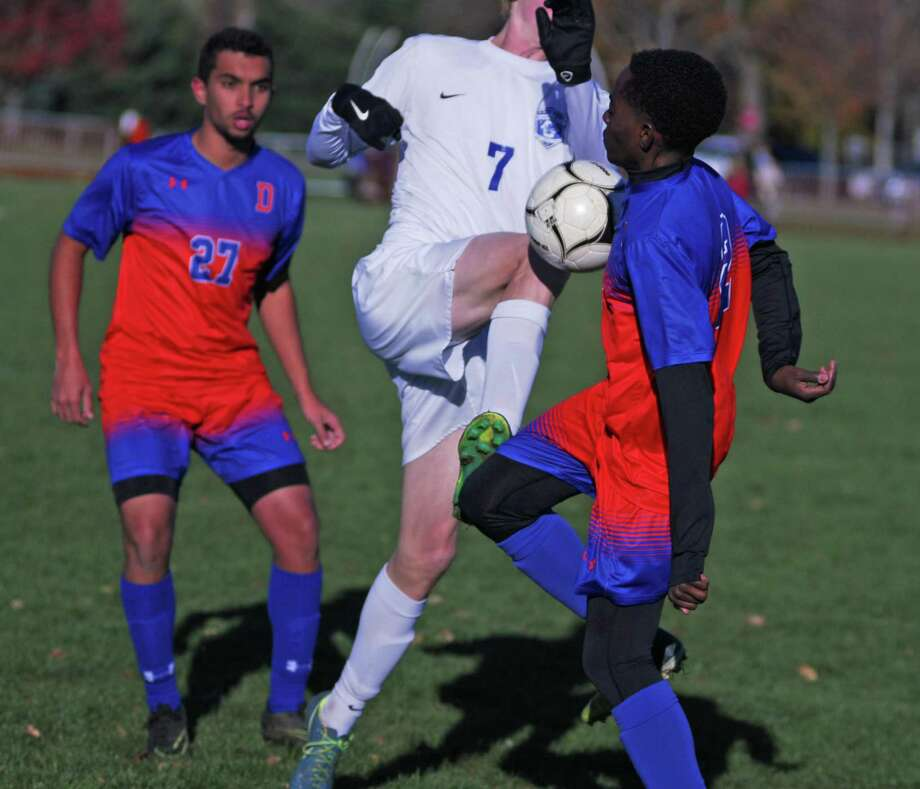 Action from Glastonbury's 3-0 win over Danbury in the Class LL boys soccer quarterfinals on Friday, November 10th, 2017. Photo: Ryan Lacey / Hearst Connecticut Media