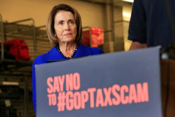 House Minority Leader Nancy Pelosi listens to speakers at a press conference regarding the GOP tax plan at San Francisco Fire Station No. 4  on Friday, November 10,  2017 in San Francisco, Calif.