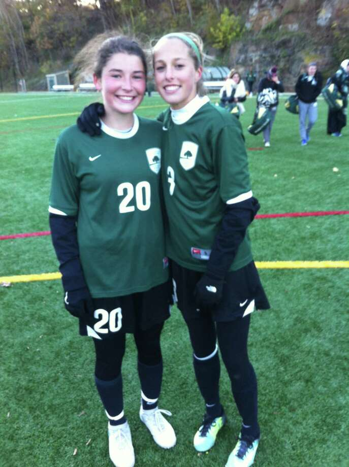 Taylor Lane, left, and Katie Goldsmith combined on Greenwich Academy's winning goal. Nov. 10, 2017 Photo: Contributed Photo / Contributed Photo / Greenwich Time Contributed