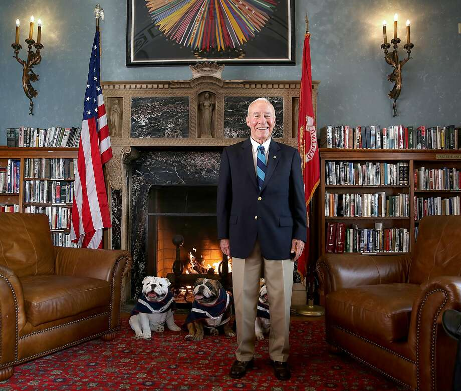 J. Michael Myatt, in the Marines Memorial Club's library, helped transform the institution from a social club into a living memorial for service members. Photo: Liz Hafalia, The Chronicle