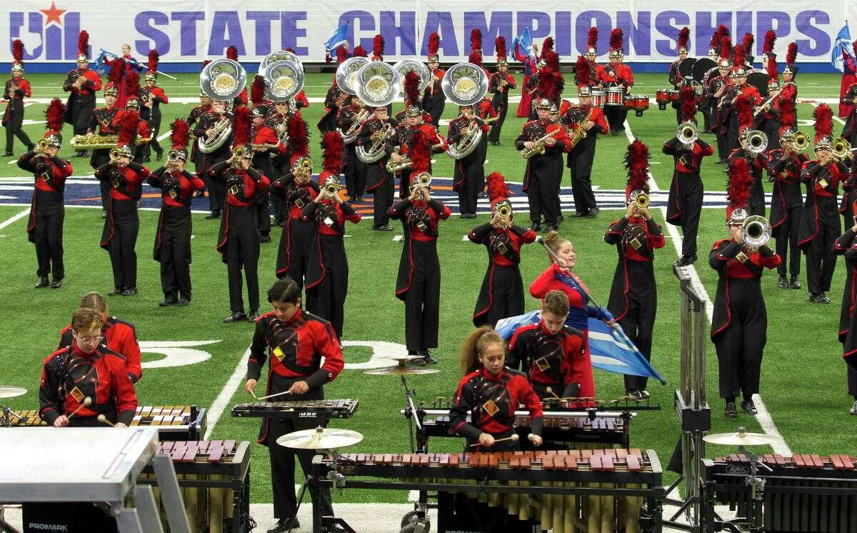 The Porter High School band performs during the UIL Marching Band State Championships at the Alamodome, Wednesday, Nov. 8, 2017, in San Antonio.