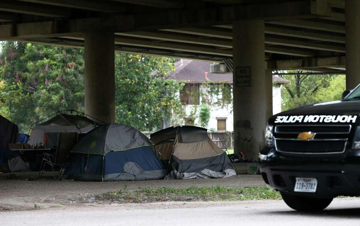Tents dot a homeless encampment near downtown Houston (Godofredo A. Vasquez / Houston Chronicle )