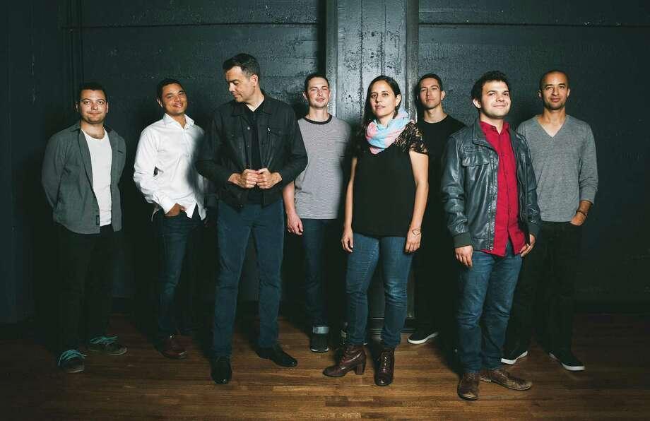 The Negative Press Project lineup includes (from left) Luis Salcedo (guitar), Lyle Link (soprano/alto/tenor sax), Andrew Lion (bass), Rafa Postel (trumpet), Ruthie Dineen (piano/keys), Chris Sullivan (alto sax), Isaac Schwartz (drums) and Tony Peebles (tenor sax). / claylancaster.com