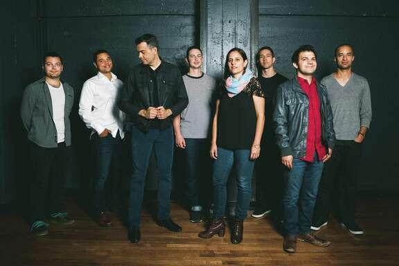 The Negative Press Project lineup includes (from left) Luis Salcedo (guitar), Lyle Link (soprano/alto/tenor sax), Andrew Lion (bass), Rafa Postel (trumpet), Ruthie Dineen (piano/keys), Chris Sullivan (alto sax), Isaac Schwartz (drums) and Tony Peebles (tenor sax).