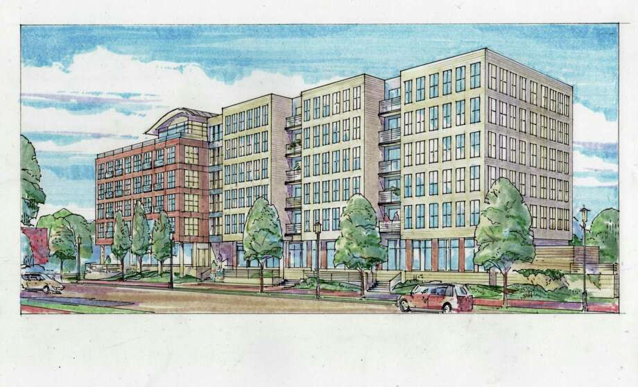 A preliminary rendering by Beinfield Architecture of the new five-story development with 80 residential units and 2,690 square feet of retail that will be built on 121-123 Water St. Photo: Contributed Photo